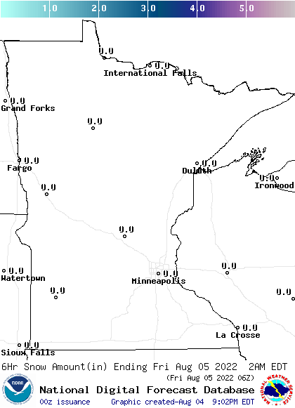 Minnesota0-6 Hour Snowfall Forecast