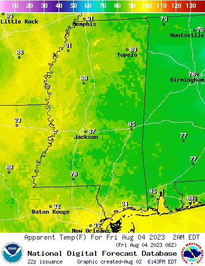 National Digital Forecast Database (NDFD) Apparent Temperature