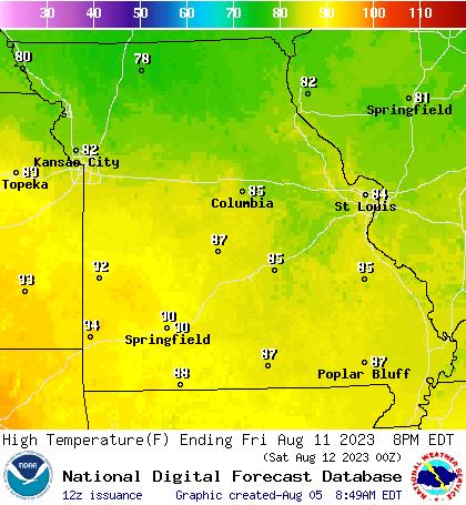 Weather Street: 7-Day Missouri Maximum Temperature Forecast