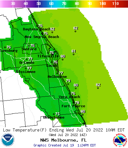 Map Of Melbourne Florida.Noaa Graphical Forecast For Melbourne Fl