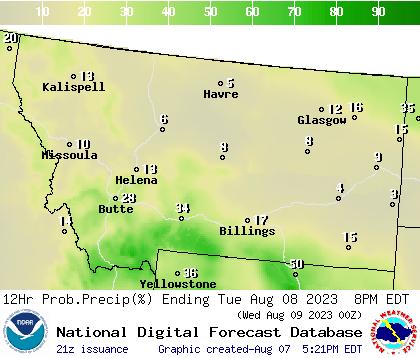 Weather Street: 7-Day Montana Precipitation Probability Forecast