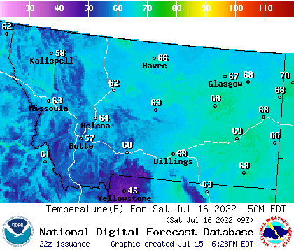 National Digital Forecast Database (NDFD) Temperature