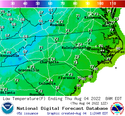 North Carolina low temperature for the next 7 days; CLICK for North