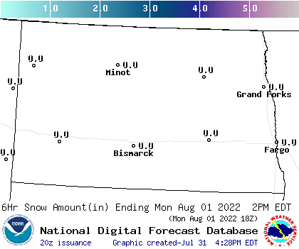 North Dakota 24-30 Hour Snowfall Forecast