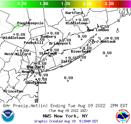 OKX 6 Hour QPF Forecast Map