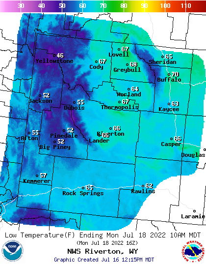 Tomorrow Night's Lows - Click to Enlarge
