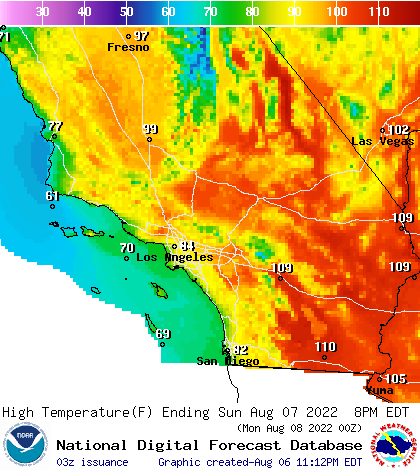 Map Of California Weather.Noaa Graphical Forecast For Southern California