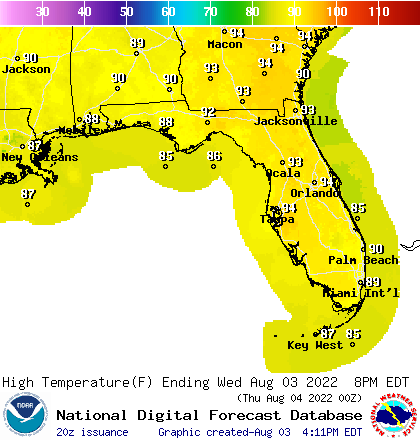 Florida High Temperature Forecast
