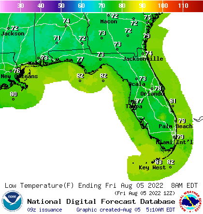 Florida Low Temperature Forecast