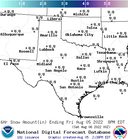 6-hr Snow Amount Forecast for the South Plains