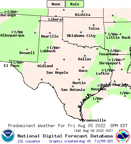 NOAA Weather Map for Canyon, Texas