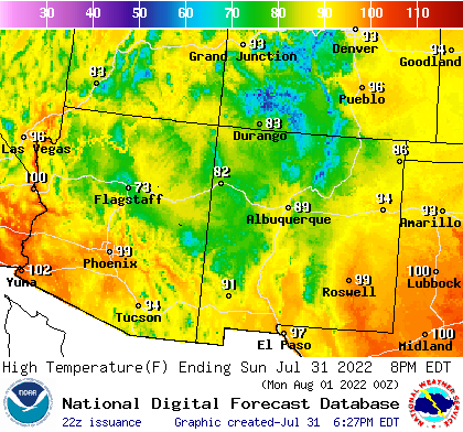 Denver Low Temperature, Durango High Temperature, Durango Low Temperature, Grand Junction High Temperature, Grand Junction Low Temperature, Roswell High Temperature, Roswell Low Temperature, Yuma High Temperature, Yuma Low Temperature