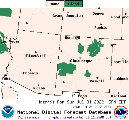 Current NOAA NWS NM and AZ Hazards Forecast Map