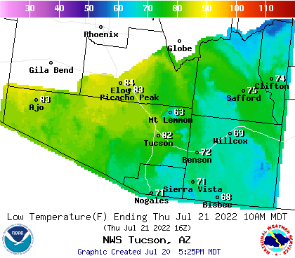 NOAA Graphical Forecast for Tucson, AZ