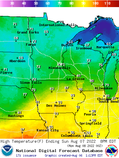 High temperatures Saturday