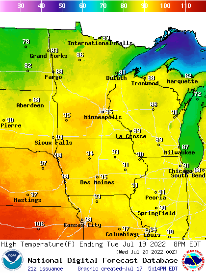 High temperatures Sunday