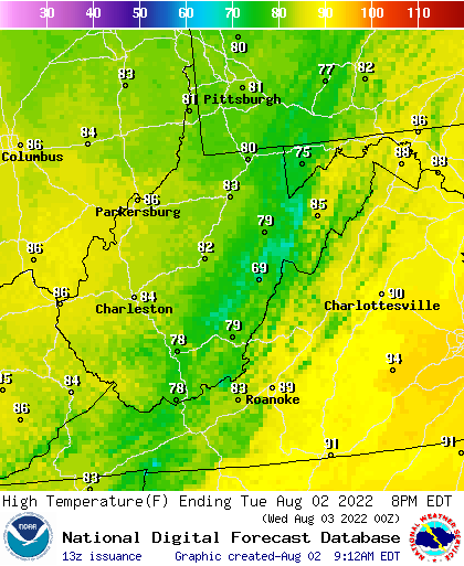 West Virginia High Temperature Forecast For The Next 7 Days Weather Type