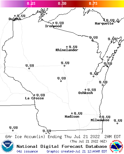 6 Hour Ice Accumulation Forecasts