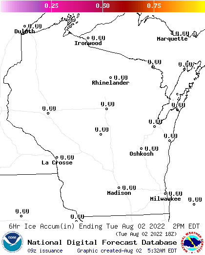 18 Hour Ice Accumulation Forecasts